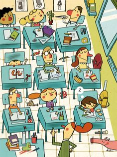 The 20 diferences (2011). Christian Inaraja #illustration for Cavall Fort magazine. #Classroom Back to #school.
