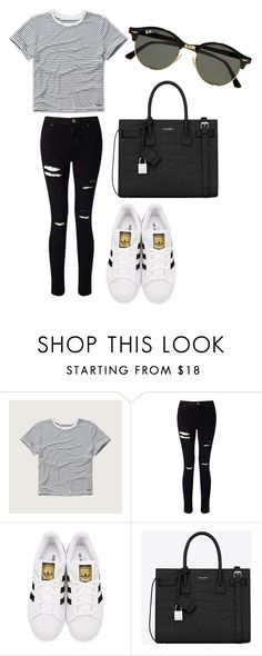 """""""street style"""" by fashionblogger2122 on Polyvore featuring Abercrombie & Fitch, Miss Selfridge, adidas Originals, Yves Saint Laurent and Ray-Ban"""