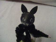 "Halloween Black Cat Spun Cotton Chenille Around 3 25"" Tall Vintage | eBay"