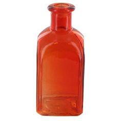 Orange Short Colored Glass Bottle with Square Bott