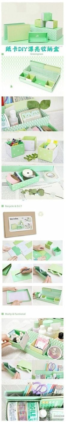diy box Cardboard recycling, cover with material or paper to create stationary/desk organisation (just like as a kid Blue Peter style! Diy Projects To Try, Craft Projects, 3d Cuts, Diy Paper, Paper Crafts, Diy Organisation, Storage Organization, Storage Boxes, Storage Ideas