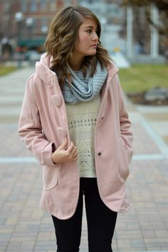 pink coat + cream sweater + gray infinity scarf