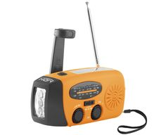 MDN® Emergency Dynamo Solar Self Powered AM/FM/WB(NOAA) Radio w/ LED Flashlight, Cell Phone Charger (Orange). Very compact, light, and easy to carry loaded with many important functions. Comes with a AM/FM/WB(NOAA) weather band radio, a powerful 3 LED flashlight. Multiple ways to power/charge the radio: hand crank or DC. Ideal for hiking, camping, stored in a car trunk, or any emergency kit. Use the radio to recharge Cell Phones, iPhones, iPads, IPods, MP3s/MP4s, USB devices with no crankin.