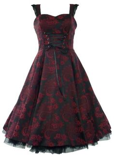 50′s Brocade Prom Party Dress Red & Black – S « Dress Adds Everyday
