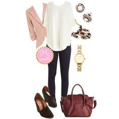 In this outfit: Best of Basics Top in Ivory, On a Roller Derby Jeans, Fine and Sandy Blazer in Petal, Starlight of my Life Earrings, Readymade Radiance Necklace, Teacup and Running Watch in Gold, Office to Outing Bag, Smart and to the Point Wedge