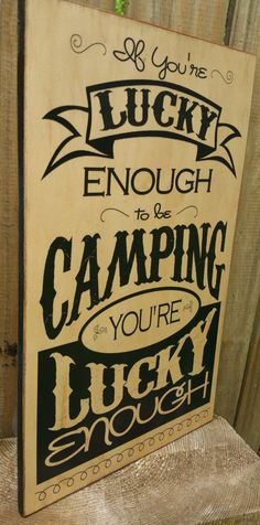 Wood Camping Sign Lucky Campers by LizzyFishSigns on Etsy #100DaysofCamping