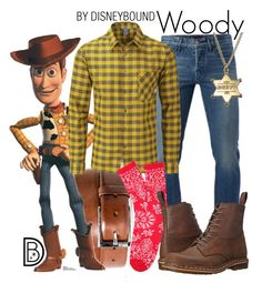 """""""Woody"""" by leslieakay ❤ liked on Polyvore featuring HUGO, 3x1, Rab, Dr. Martens, men's fashion, menswear, disney and disneybound"""