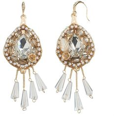 GS by gemma simone Artisan Collection Adelyn Bead Drop Earrings,... ($27) ❤ liked on Polyvore featuring jewelry, earrings, fake earrings, white drop earrings, gold drop earrings, gold charms and white gold earrings