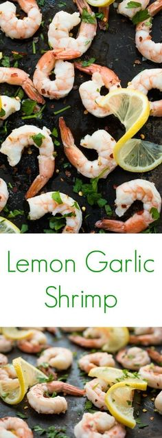 Shrimp is roasted in the oven with olive oil, salt and garlic then drizzled with lemon juice in this fast and easy 10 minute seafood recipe. #appetizer #shrimps #healthyfood #healthyeating