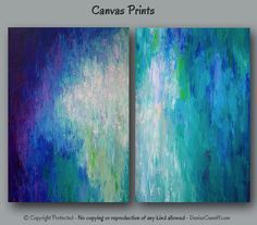 Large abstract, Canvas art, Print set, Wall art, Teal home decor, Jewel tone art, Teal abstract, Turquoise, Purple, Blue, Bedroom, Office