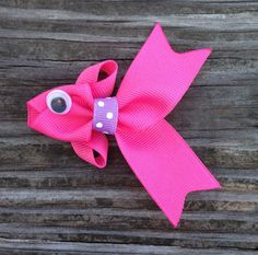 Hot Pink Tropical Fish Ribbon Sculpture Hair Clip - Toddler Hair Clips - Girls Hair Accessories... Free Shipping Promo