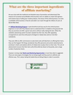 What are the three important ingredients of affiliate marketing