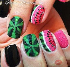 The Best Nail Art Designs – Your Beautiful Nails Fruit Nail Designs, Simple Nail Art Designs, Best Nail Art Designs, Watermelon Nail Designs, Cute Nail Art, Easy Nail Art, Cute Nails, Pretty Nails, Watermelon Nails