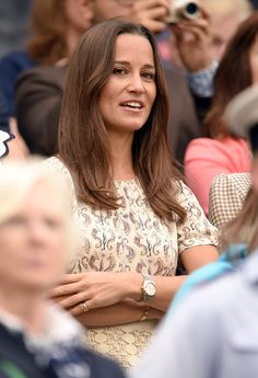 Pin for Later: Pippa Middleton Just Got Engaged, but We're Already Predicting Her Wedding Dress Will Have This 1 Detail  Wearing a cream colored dress to Wimbledon 2015.