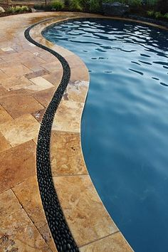 Travertine Patio With A Border Of Stone Really Cool Idea
