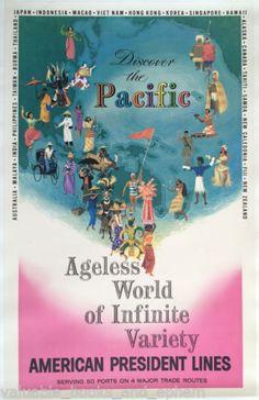 Original-Travel-Poster-Pacific-c1958-Ocean-Liner-Cruise-Ship-Tahiti-Fiji-Islands