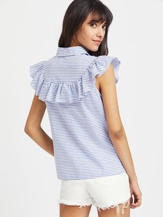 Frill Cap Sleeve Button Up Striped Blouse Corsage, Cool Outfits, Fashion Outfits, Fashion Killa, Pattern Fashion, Shirts For Girls, Blouse Designs, Passion For Fashion, Spring Outfits