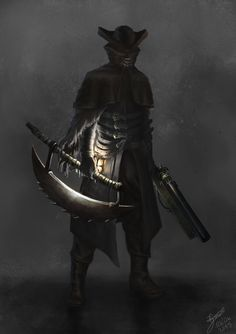 Hunter - Bloodborne Style, Gabriel Zanini on ArtStation at https://www.artstation.com/artwork/hunter-bloodborne-style