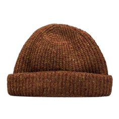 Irish Donegal Merino Wool Rust Beanie Hat (43 CHF) ❤ liked on Polyvore featuring men's fashion, men's accessories, men's hats and mens beanie hats