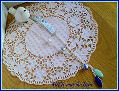 Collier chaine mailles argent, tissu liberty, perles céramique, pampilles époxy, mini perles à facettes
