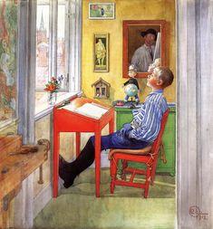 Esbjorn fazendo sua lição de casa. Aquarela. 1912. Carl Larsson (1853-1919).