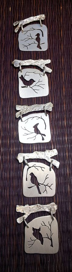 Silver bird silhouette fibula pins by Studio451 on Etsy