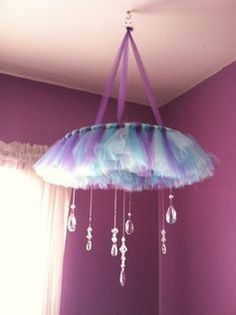 Tutu Chandelier / Baby Mobile Finished by YSCreativeCreations----- but maybe green yellow and purple for princess and the frog Little Girl Rooms, Little Girls, Ballerina Bedroom, Frozen Bedroom, Frozen Room Decor, Tulle Wreath, Nursery Room, Baby Room, Girls Bedroom