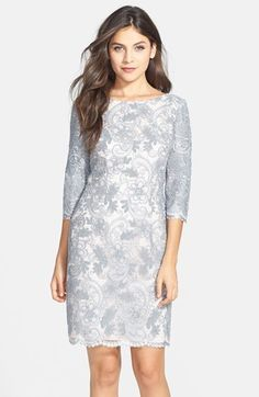 Eliza J Embroidered Mesh Sheath Dress