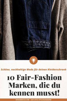 Auf meinem Modeblog zeige ich dir heute 10 nachhaltige Modelabels, die modern, stylisch und leistbar sind. Schöne Fair Fashion Mode ist mittlerweile weit weg vom verstaubten Öko-Image. Ich stelle dir 10 trendige Fair Fashion Marken vor, mit denen du eine wunderbare nachhaltige Capsule Wardrobe aufbauen kannst. www.whoismocca.com #fairfashion #nachhaltigkeit #sustainablefashion German Fashion, Fashion Group, All About Fashion, Capsule Wardrobe, Denim, Modern, Fashion Trends, Inspiration, Shopping
