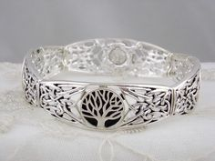 Antiqued Silver Celtic Tree of Life Stretch Bracelet Fashion Jewelry NEW #unbranded #stretch