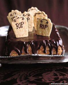Graveyard cake -- a pumpkin spice cake with bleeding chocolate glaze -- is the pumpkin pie of a spectral Halloween menu.