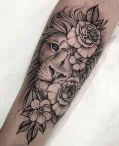 Lion Tattoo On Thigh, Half Sleeve Tattoos Forearm, Lion Forearm Tattoos, Floral Thigh Tattoos, Bff Tattoos, Dope Tattoos, Body Art Tattoos, Small Tattoos, Lion Woman Tattoo