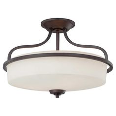 Cast a stylish glow over your hall or foyer with this timeless semi-flush mount, featuring a frosted glass shade and curving arms.  ...