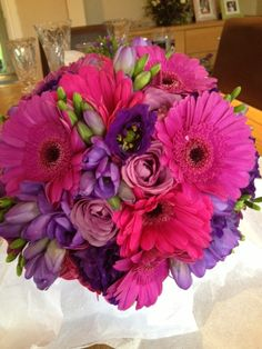 A Darling Buds Wedding Bouquet, lavender freesia and gerber daisies
