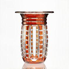c.1930s Val St. Lambert orange overlay Art Deco crystal vase , Joseph Simon   eBay