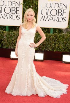 Brides.com: The Best Dresses from the 2013 Golden Globes. Francesca Eastwood at the 2013 Golden Globes. Francesca Eastwood—Ms. Golden Globes herself—stepped out in a stunning, vintage 1930s-style Armani gown that recalls the days of Jean Harlow. The embroidered lace, fit-and-flare style, and seductive back details make this an elegant choice for a formal evening wedding.  Browse lace wedding dresses.