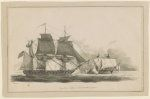 1 drawing : pen and ink, with ink wash ; 15.3 x 23.5 cm (sheet)   Preliminary drawing for an oil painting showing the sea battle between the USS United States, under the command of Stephen Decatur, and HMS Macedonian off the coast of Maderia on October 25, 1812.