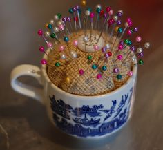 Tea Cup Pin Cushion-another idea that I like.  We are putting crushed walnut shells in the filling of the cup, 'cuz that is supposed to sharpen pins and needles.  I got a bag at a pet store.  If you need some, I have plenty now! :)