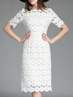 White Crochet Hollow Out Embroidered Scallop Dress
