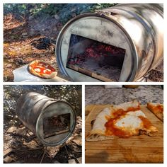 Wood fire pizza oven from steel drum Wood Fired Oven, Wood Fired Pizza, Bbq Grill, Barbecue, Custom Bbq Smokers, Diy Sauna, Four A Pizza, Fire Pizza, Steel Drum