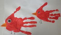 kids handprint idea: House of Baby Piranha: Handprints - Mummy Bird and Little Bird Toddler Art, Toddler Crafts, Preschool Crafts, Orange Paper, White Paper, Auction Projects, Fall Projects, Footprint Art, Animal Crafts For Kids