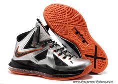 wholesale dealer f5d56 bc852 Buy Nike Lebron X 10 Silver Orange Basketball Shoes Store