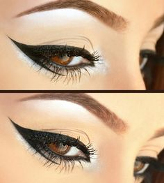 Graphic Eyeliner- I used Mac Fluidline in Blacktrack and L'Oreal Liquid eyeliner on top. I just used foundation and powder on the lid, and a little bit of shimmer white eyeshadow from Sleek Bad Girl Palette for the inner and outer corners of the eye.