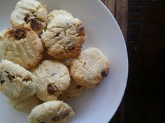 Home made gluten free choc chip biscuits made from coconut flour.