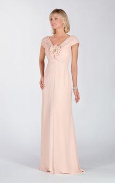 V-neck Sheath/Column Floor-length Pink Chiffon Mother Of The Bride Dress