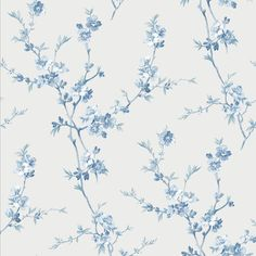 Add a fresh floral to your walls with this cherry blossom wallpaper. The bright print has a white background with pretty blue flowers that crawl up the wall. Shades of light blue, navy, and seafoam create a cool color palette. Blue Floral Wallpaper, Cherry Blossom Wallpaper, Blue Wallpaper Iphone, Print Wallpaper, Blue Wallpapers, Aesthetic Iphone Wallpaper, Wallpaper Roll, Flower Wallpaper, Aesthetic Wallpapers