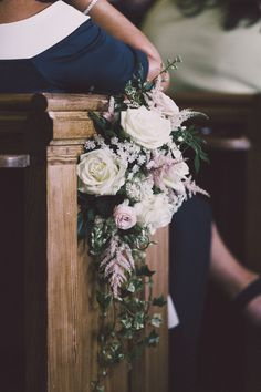 Church Pew End Wedding Flowers - Millar Cole Photography | Monique Lhuillier Candy Wedding Dress | Church Ceremony & Marquee Reception | Blush Pink BHLDN Bridesmaid Dresses