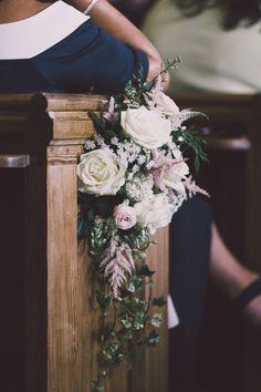 Church Pew End Wedding Flowers - Millar Cole Photography | Monique Lhuillier Candy Wedding Dress | Church Ceremony