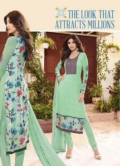 Sparkling Green Churidar Designer Suit
