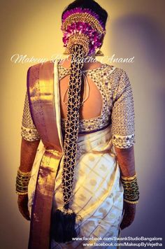 Super Indian Bridal Hairstyles For Reception Hindus Blouse Designs 41 Ideas<br> South Indian Wedding Hairstyles, Bridal Hairstyle Indian Wedding, South Indian Weddings, Bride Hairstyles, Indian Hairstyles, Bridal Braids, Bridal Hairdo, Bridal Bun, Bridal Makeup